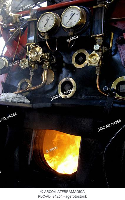 Driver's cab of steam locomotive of historic train 'The pride of Africa' Pretoria South Africa