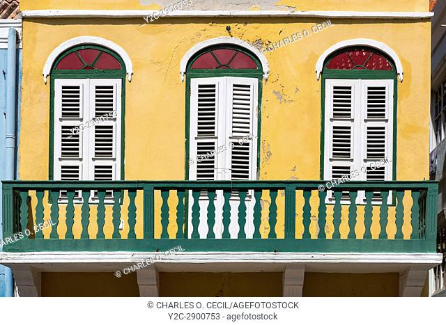 Willemstad, Curacao, Lesser Antilles. Second Story of an Old Building on Breedestraat