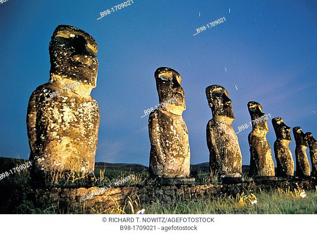 These 'moais,' carved monoliths of ancestral gods, are believed to date from the 13th or 14th century  Easter island lies 2