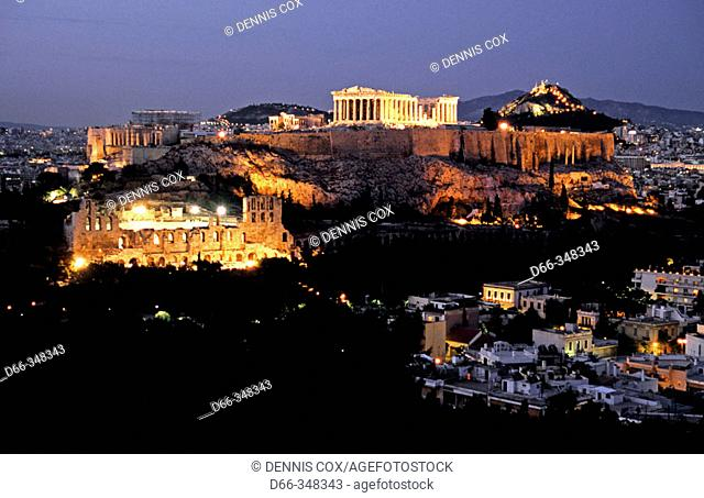 Odeion of Herodes Atticus (left) and Parthenon (top). Acropolis, Athens. Greece