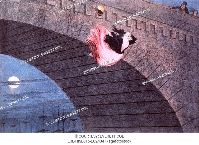 'The Gin-Crazed Girl Commits Suicide,' from THE DRUCKARD'S CHILDREN, 1848, by George Cruikshank 1792-1878. A young woman has jumped from a bridge horrifying two...
