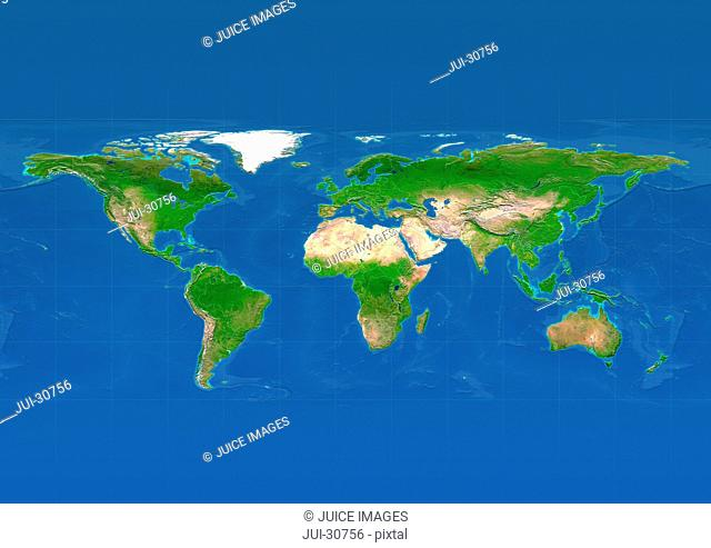 map, world, europe centered, physical, blue reduced political