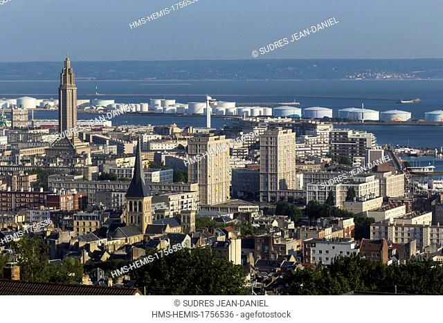 France, Seine Maritime, Le Havre, Downtown rebuilt by Auguste Perret listed as World Heritage by UNESCO, Perret buildings and St