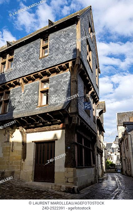 Slate Mansion from 14th century in Narrow Old Town Street with Cobble Stone (Rue Voltaire) of Chinon. Indre-et-Loire, Central Region, Loire Valley, France