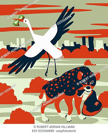 Concept vector illustration of corruption or child mortality as a stork sells a delivery package to a hyena