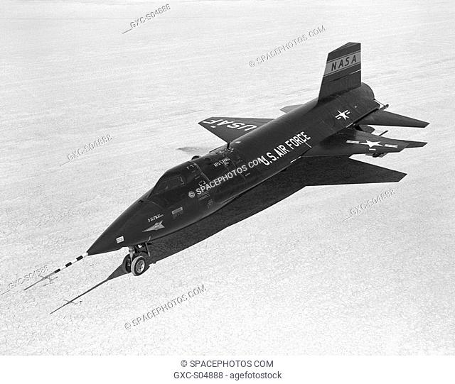 The X-15 aircraft, ship 1 56-6670, sits on the lakebed early in its illustrious career of high speed flight research.The X-15 was a rocket-powered aircraft 50...