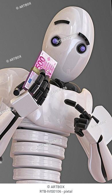Robot holding a bundle of five hundred Euro banknotes