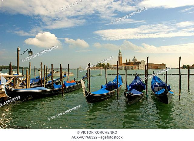 Gondolas parked at san Marco square in Venice