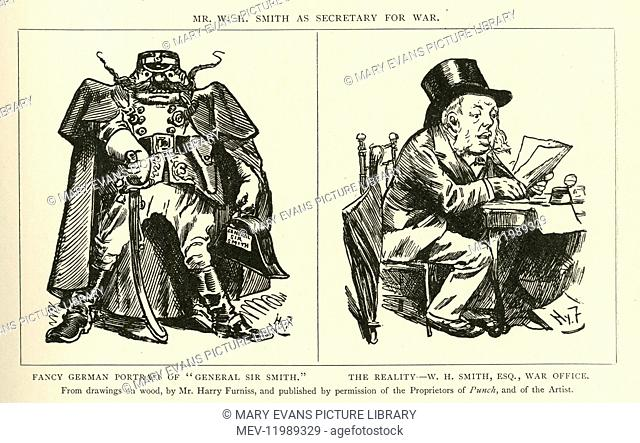 Cartoons, W H Smith as Secretary for War - a Fancy German Portrait, and the Reality. William Henry Smith, newsagent, bookseller and Conservative MP