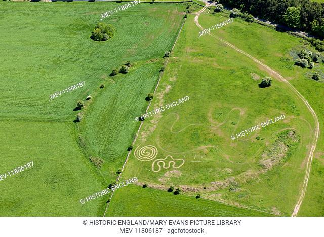 Circle 1, Priddy, Somerset. An aerial view showing the first Neolithic earthwork circle near the village of Priddy, 2015