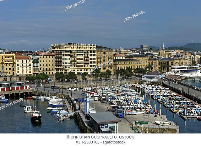 port of San Sebastian, La Concha Bay, Bay of Biscay, province of Gipuzkoa, Basque Country, Spain, Europe