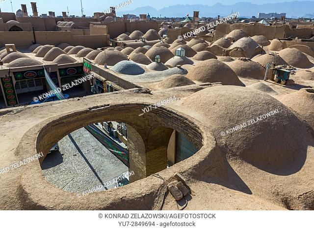 Small domes one the roofs of bazaar in Yazd, capital of Yazd Province of Iran