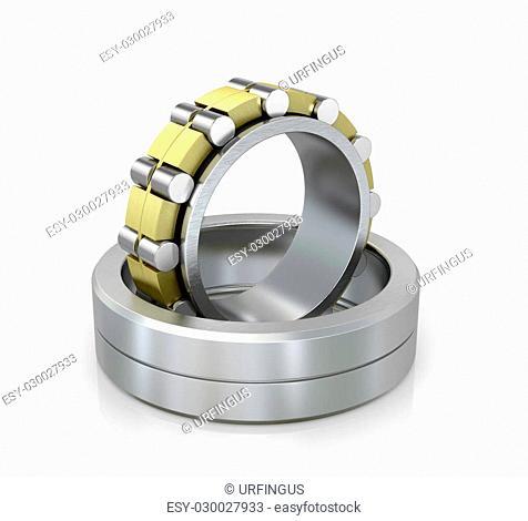 Spherical radial bearing isolated white background. 3D illustration