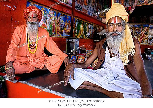 Sadhus holy men,near Brahma temple,pushkar, rajasthan, india