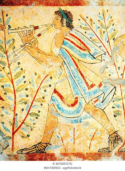 fine arts, ancient world, Etruscans, painting, man plying flute, Tomba dei Leopoardi, Tarquinia, circa 450 BC, Etruria, fresco, musican, music, tomb, people