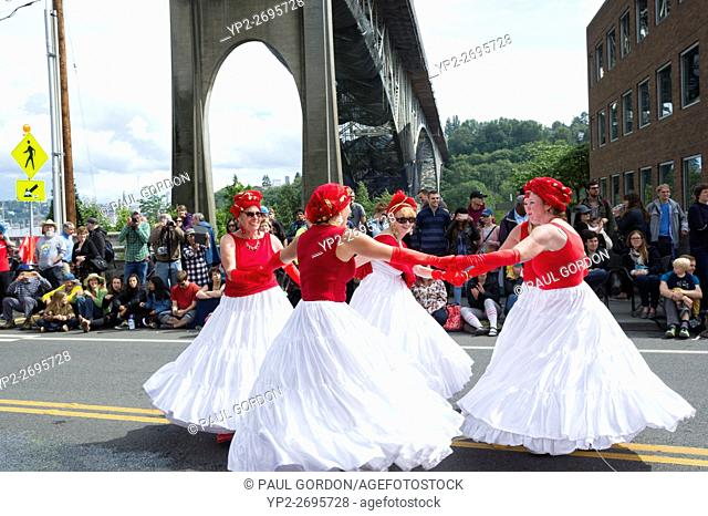 Seattle, Washington: Bloco Pacifico Ensemble under the Aurora Bridge at the Summer Solstice Parade and Festival. The annual event is produced by the Fremont...