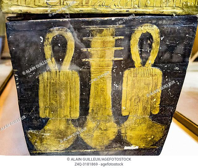Egypt, Cairo, Egyptian Museum, from the tomb of Yuya and Thuya in Luxor : Mummy-shaped (third) coffin of Yuya, the foot shows Djed (stability) and Tit (Isis...