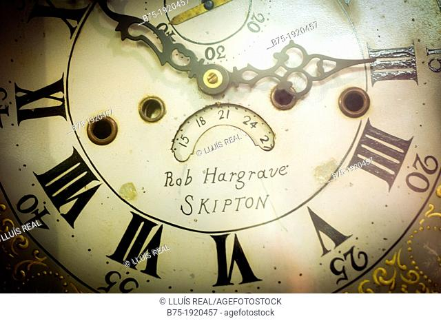 Clock of a clock maker, Rob Hargrave, Skipton, Yorkshire, England, UK