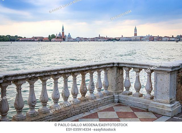 Venice panorama from the waterfront during a cloudy day