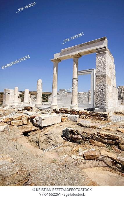 View of the Temle of Demeter near the village of Sangri in Naxos, Greece