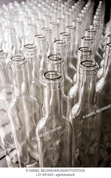 Glass bottles in bottling plant, Torís. Ribera Alta, Valencia province, Comunidad Valenciana, Spain