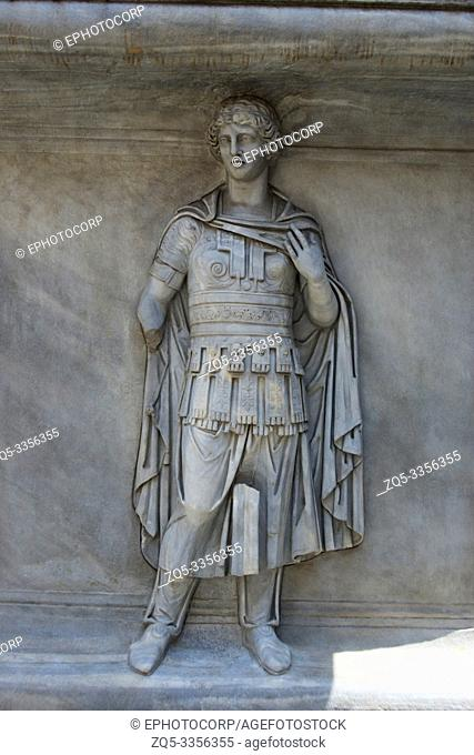 A statue of a roman warrior in low relief, Capitoline Museum, Rome
