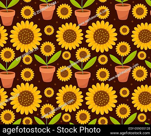 Summer seamless pattern with yellow sunflower flowers. Village endless background, repeating texture. illustration