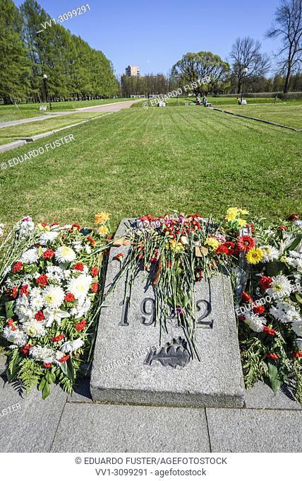 Leningrad (St. Petersburg, Russia - In the Piskaryovskoye Memorial Cemetery in Leningrad (present day St. Petersburg) marked by year