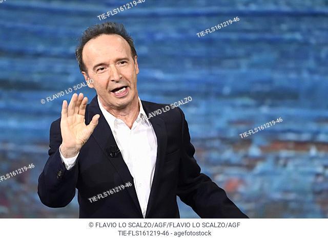 The actor and director Roberto Benigni during the tv show Che tempo che fa, Milan, ITALY-15-12-2019