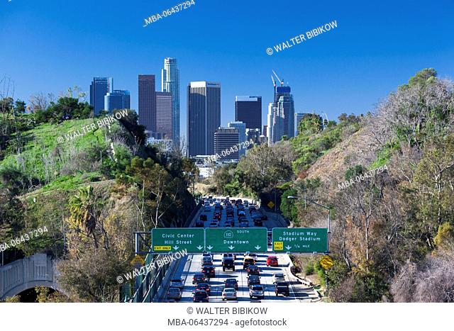USA, California, Los Angeles, elevated view of traffic on RT 110, morning