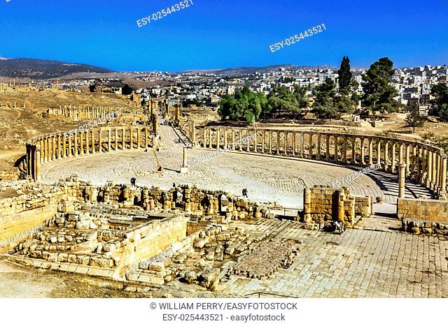 Oval Plaza 160 Ionic Columns Ancient Roman City Jerash Jordan. Jerash came to power 300 BC to 100 AD and was a city through 600 AD