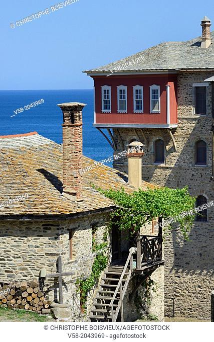 Greece, Chalkidiki, Mount Athos peninsula, listed as World Heritage, Iviron monastery, The arsana (port)