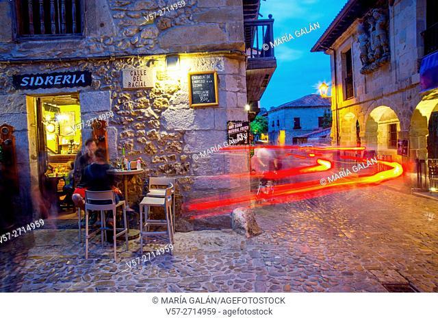 Typical tavern and terrace, night view. Santillana del Mar, Cantabria, Spain