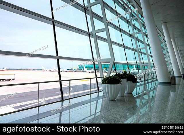 modern airport scene, view of the terminal window