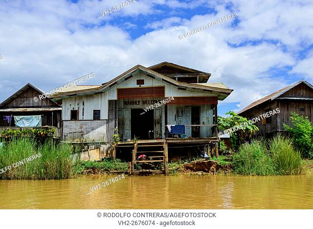 Houses around Inle Lake, Myanmar