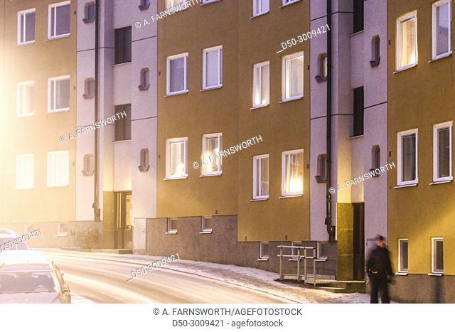 STOCKHOLM, SWEDEN. Winter street in Fruängen