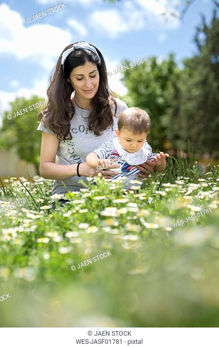 Mother and baby son on blossoming field of flowers in spring