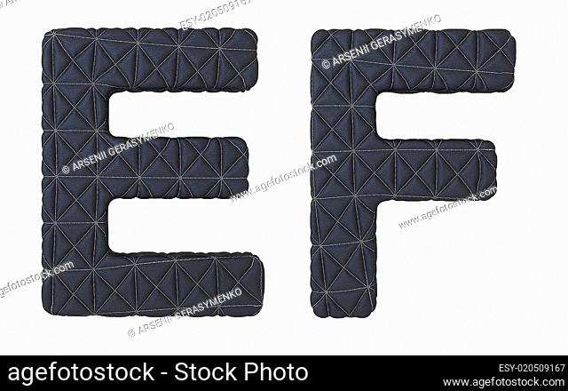 Luxury black stitched leather font E F letters