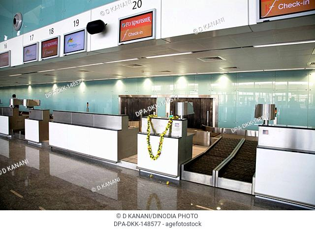 Check-in counters at Bengaluru international airport ; Bangalore ; Karnataka ; India