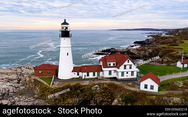 Fly around aerial view Portland Head Lighthouse State of Maine