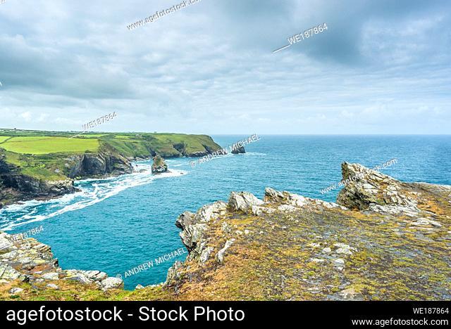 Coastal views from Willapark Lookout near Boscastle on the Atlantic coast of Cornwall, England, UK