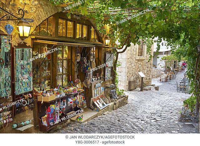 Main street in Monemvasia village, Peloponnese, Greece