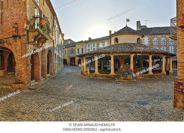 France, Tarn et Garonne, Auvillar, listed as The most beautiful villages in France, circular hall and arcades on the village square