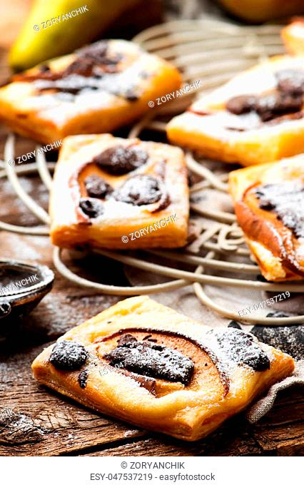 Pear Chocolate Cream Cheese Danishes.. selective focus