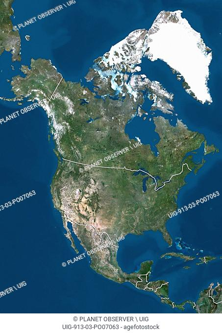 Satellite view of North America (with country boundaries). This image was compiled from data acquired by Landsat 7 & 8 satellites