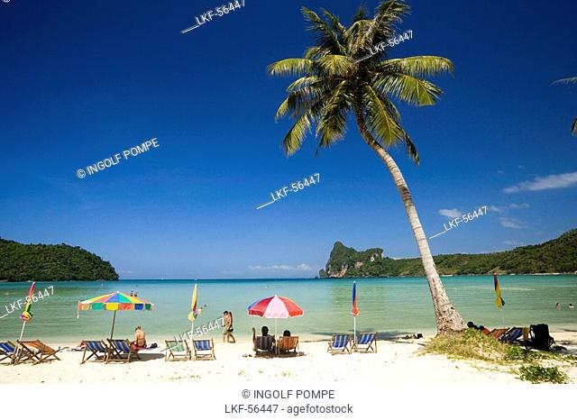 Tourists sunbathing at beach Ao Lo Dalam, Lohdalum Bay, Ko Phi Phi Don, Ko Phi Phi Island, Krabi, Thailand, after the tsunami