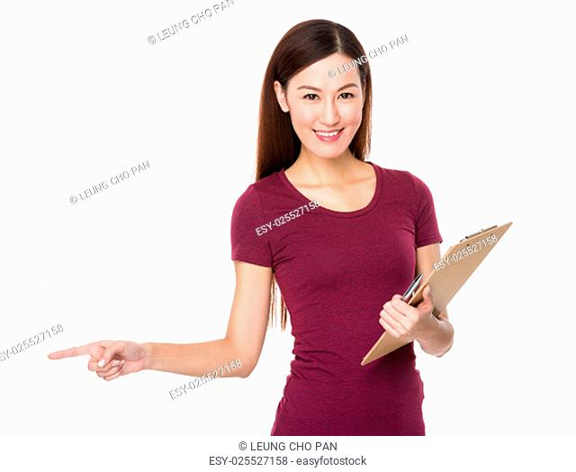 Woman holding file and finger point aside
