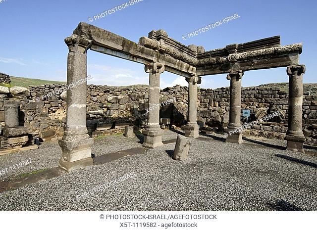 Israel, Galilee, Corazim, The remains of the Synagogue 4th century CE  February 2009