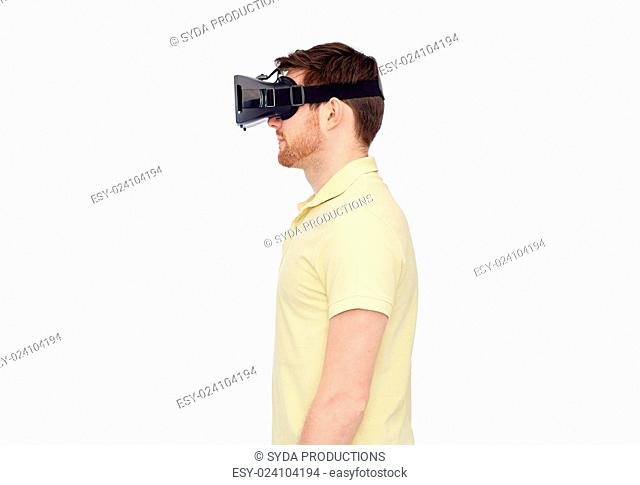 3d technology, virtual reality, entertainment and people concept - young man with virtual reality headset or 3d glasses