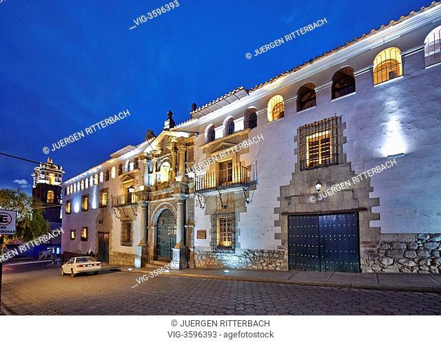 night shot of Casa de la Moneda, colonial architecture in Potosi, Bolivia, South America - Potosi, Bolivia, 18/09/2011
